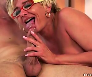 Lusty grandma fucking her young love