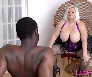 British granny in lingerie sucks black cock