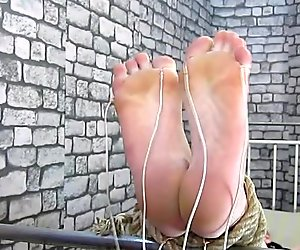 Foot fetish electro torture fingers