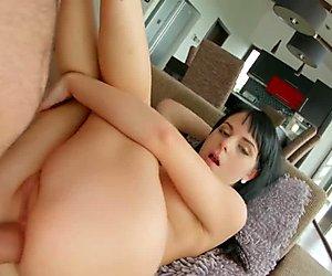 Allinternal dark haired hottie takes an anal creampie