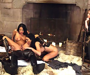 Two spicy hot busty women threesome sex
