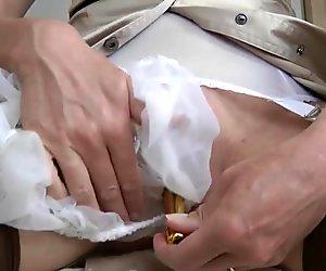 Milf Jayde in sheer panties masturbates with vibe