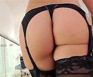 WALKING - lingerie tease soft music video stockings heels