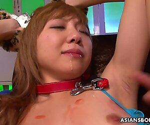 Rui Hazuki was moaning while guys were playing with her