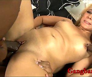 Nasty blonde slut gets all her fuckholes pounded by BBC