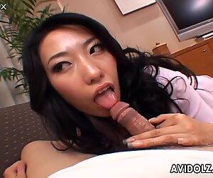 Amazingly seductive Japanese porn actress Ozawa Chris seduces the guy and blows his dick