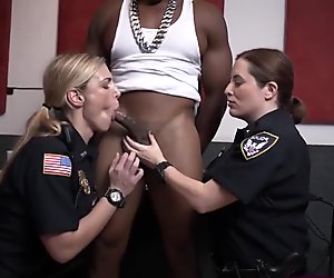 White whores in cop uniforms worship black python and get pussies stretched
