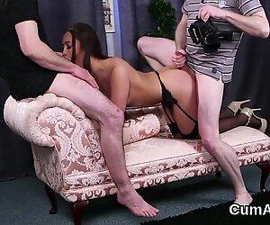 Flirty idol gets jizz shot on her face gulping all the cum
