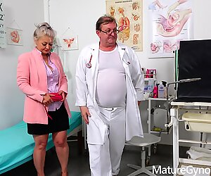 Speculum exam and fucking machine orgasm of hot blonde GILF