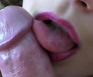 Slowly Licked and Suck my Dick Sexy Red Lips the best Blow Job