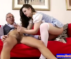 Teen amateur with hot ass sucks on cock