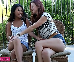 Addictded2Girls - Asian & Redhead Babes Tease & Cum Together