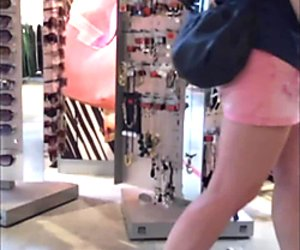Mature in pink short shorts