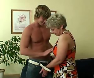 Old lady pleases hot-looking young stud