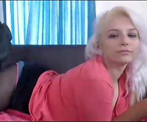 Blonde Teen Teases While Vaping With Stockings & Panties
