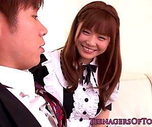 Newbie asian teen Anri Sonozaki facialized as maid