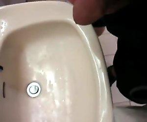 Flash n pee plus cum in a public toilet