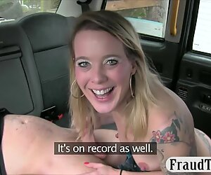 Tattooed blonde passenger gets her anal fucked by the driver