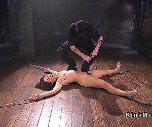 Hairy pussy sub fucked in invert bondage