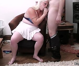 Blonde woman at work rides his horny cock