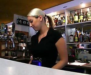 Hot bartender chick Lenka fucks for cash