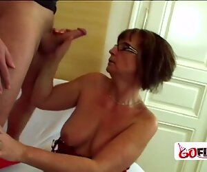 Hot stud is taken advantage by horny granny wanting his hard cock