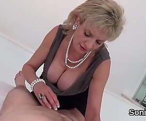 Unfaithful english milf lady sonia showcases her huge hooters