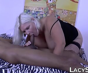 Granny in fishnets Lacey Starr riding BBC on camera