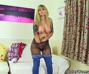 English milf Kat exposes her curves in tights and more