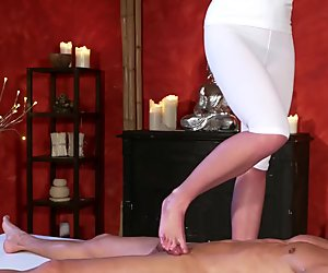 Blonde masseuse footjob and sex expert