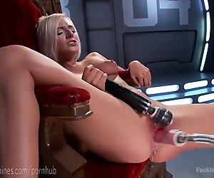 Natural Blonde Fucks Machine