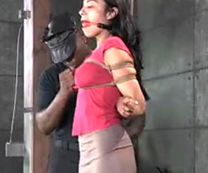 BBC master feels up tits of tied up sex-slave