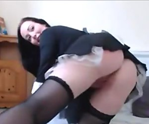 Busty Housewife with blue eyes pleseared herself