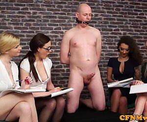 British CFNM babes make cock spray cum