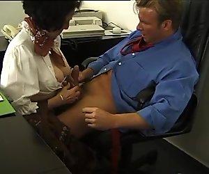 German Brunette milf giving head and fucking boss