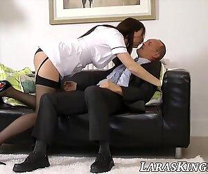 Mature babe dressed as nurse bangs hard with an older man