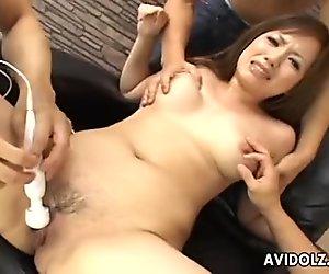 Sexy brunette slut getting fucked deep and hard