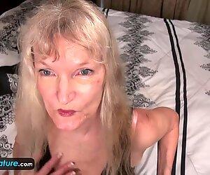elder grannie blonde small tits showing nipples masturbating fur covered pussy