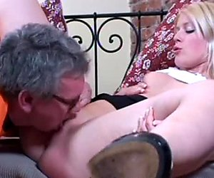 Grey haired man wins a chance to eat the wet juicy pussy of slutty Sandra