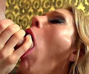 Blonde bombshell Sarah Jessie blows the cameraman