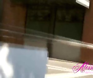 Alessandra Blonde Pink bikini in the city!