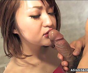 Kinky brunette, Runa Kanzaki is sucking dick like a pro