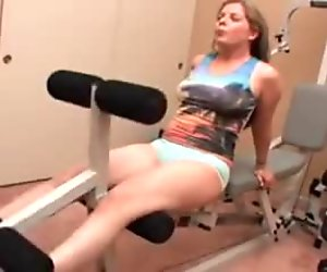 Hot workout in home gym