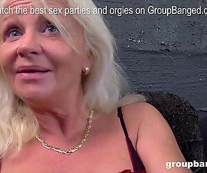 Old grandma gets started into a gangbang shooting