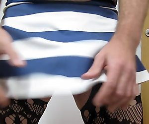 Stripes skirt and open crotch nylons