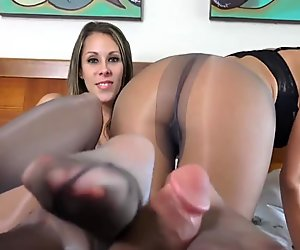 Very nice footjob from two pantyhose girls