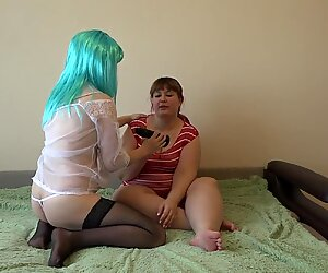 Chubby with a big ass fucks a pregnant girlfriend through white panties, lesbians with hairy pussies.