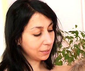 Mature slut Svatava is having passionate lesbian sex with horny brunette chick