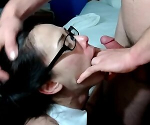 Asian swallows and gets throat poked by ample pecker