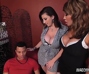 PornstarPlatinum - Ava Devine and Sarah Jay with son's pal